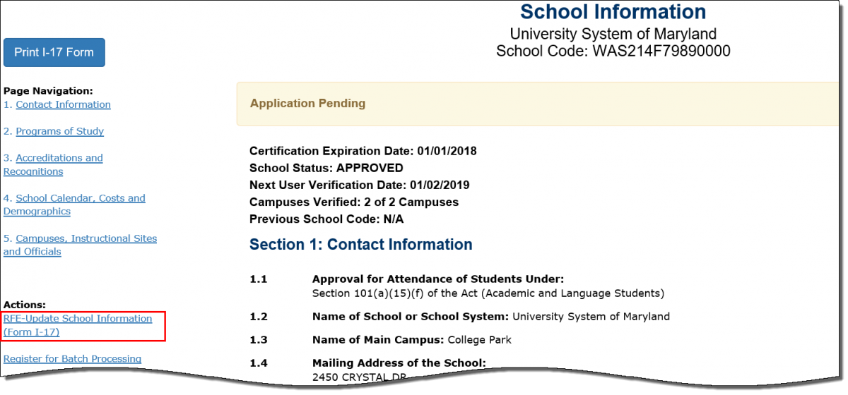 Form I-17 with RFE=Update School Information (Form I-17) button RFE-Update School Information button outlined in red rectangle
