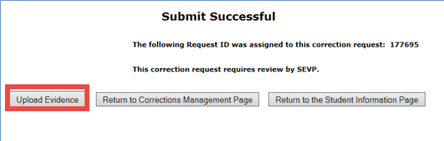 Screenshot of the upload evidence button on the submit successful screen