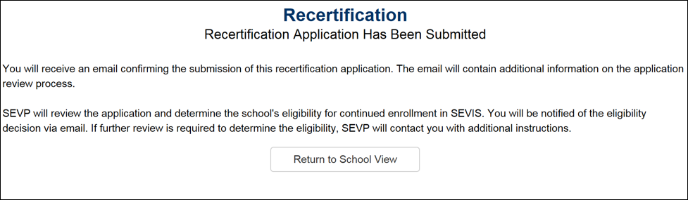 Recertification - Recertification Application Has Been Submitted page