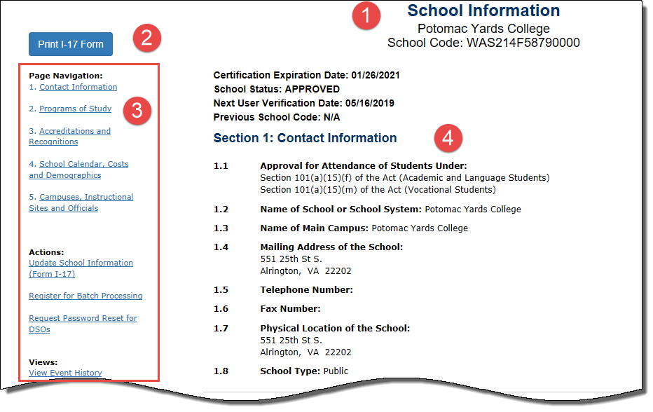 Section of School Information page listing, School information Header, Print I-17 button, Page navigation and Section 1 of the Form I-17: Contact Information