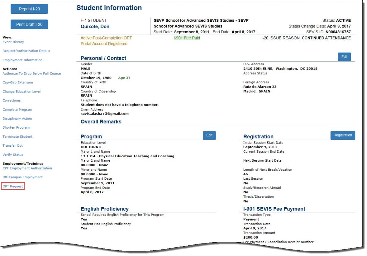 Student Information page with OPT Request hyperlink call out