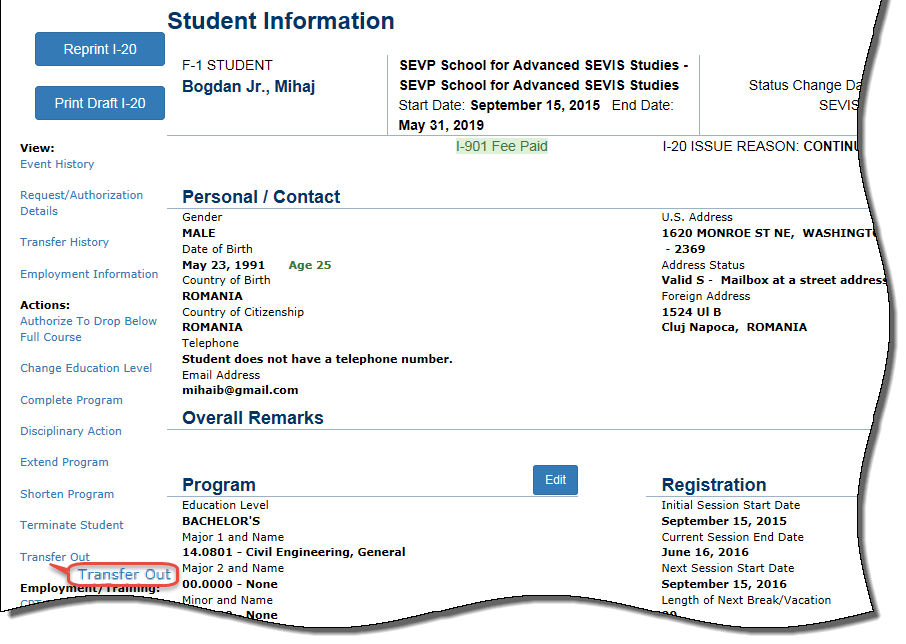 the Student Information page with Transfer Out circled
