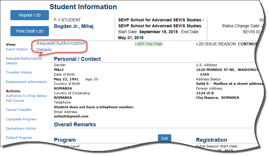 The Student Information page with Request/Authorization circled
