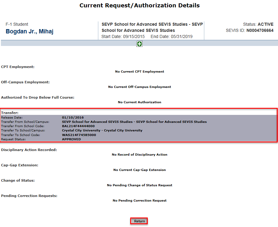 The Current Request/Authorization Details page