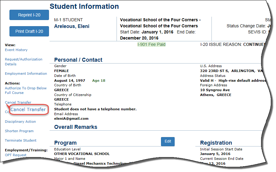 the Student Information page with Cancel Transfer circled