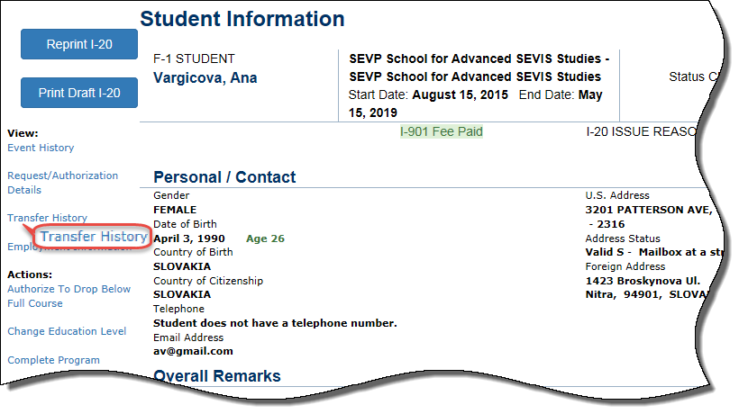 Student Information Page with Transfer History circled