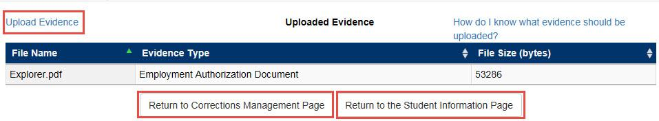 Upload Evidence Screen with the upload evidence hyperlink, return to corrections management page button and return to the student information page button outlined in a red rectangle