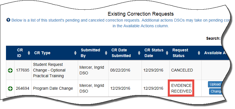 Existing Corrections Request: Evidenced received for Program Date Change