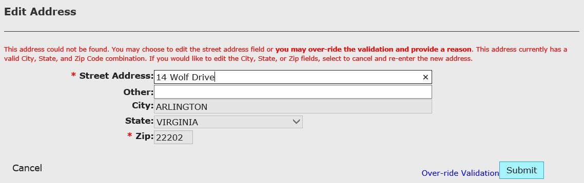 Edit Address modal with address could not be found error called out.