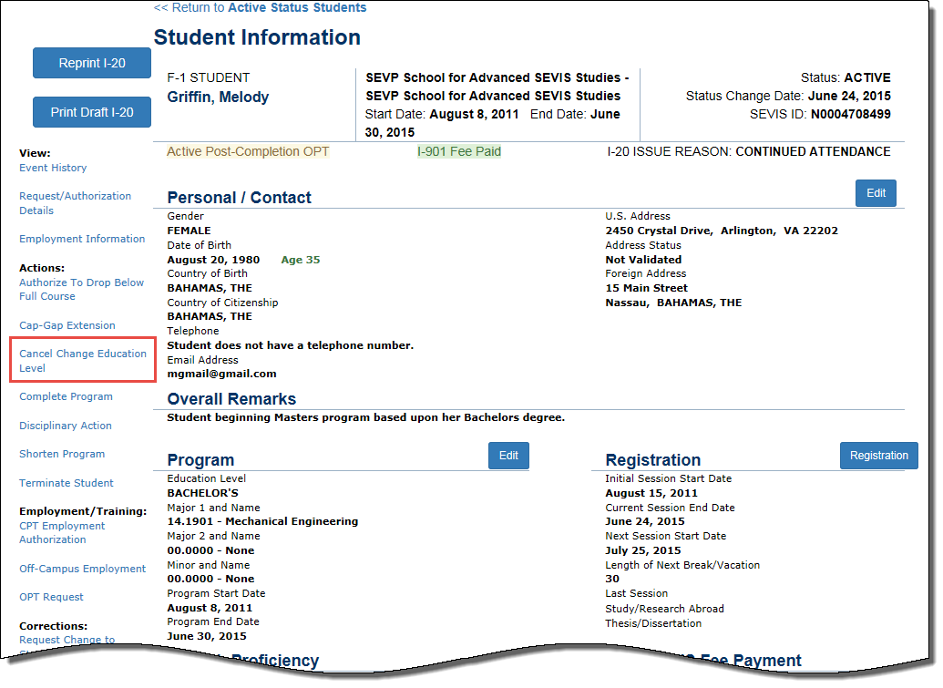 Student Information Page with Cancel Change Education Level call-out