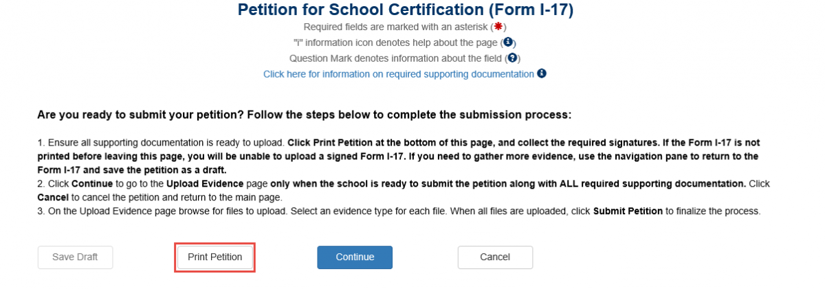 Petition For School Certification (Form I-17) page is displayed. The Print Petition button is highlighted.