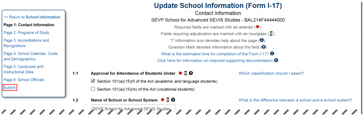Update School Information (Form I-17) page with Submit button outlined in red square