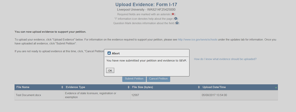 Upload Evidence: Form I-17 page with Alert popup indicating petition and evidence were submitted to SEVP