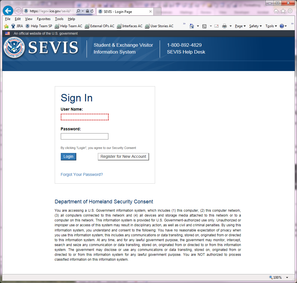 SEVIS Sign In Page