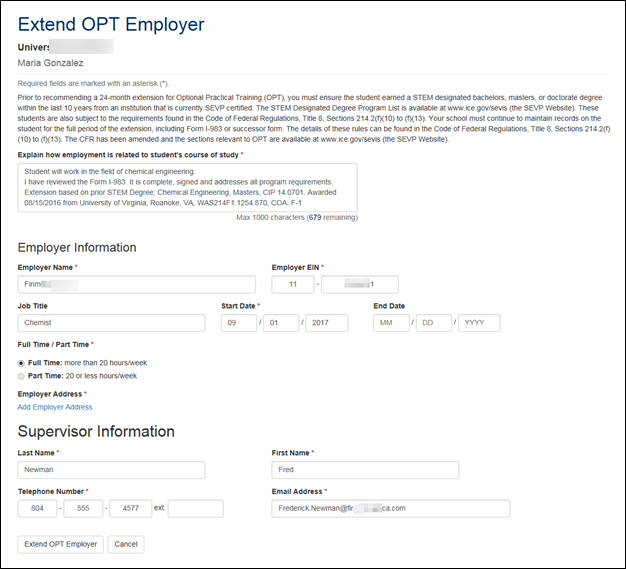 The Extend OPT Employer page