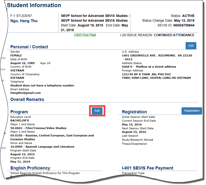 Student Information page with Program Edit button indicated with a red box.]