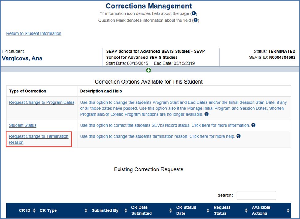 Screen shot of Request Change to Termination Reason page