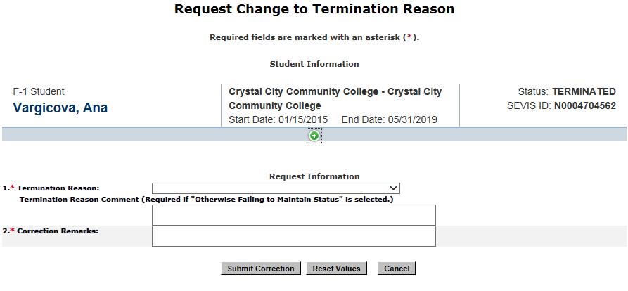 Change to Termination Reason
