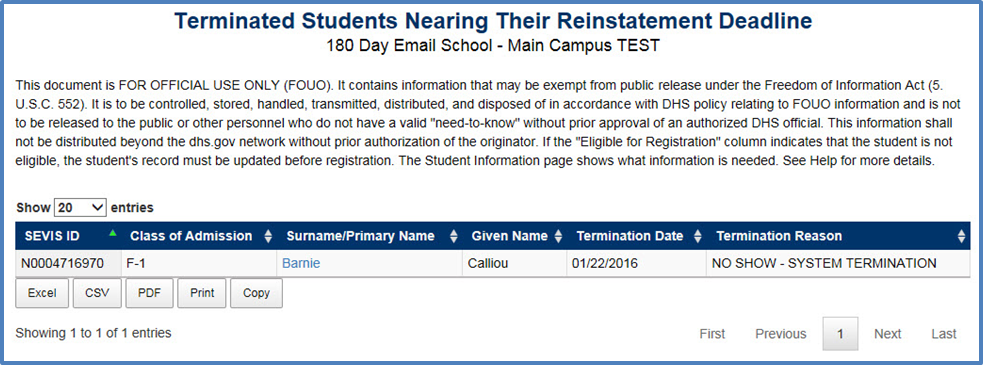 Reinstatement Print COE (Form I-20) | Study in the States