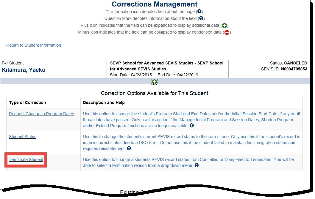 Correction Terminate Student Record