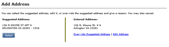 Screen shot of the Add Address validation window
