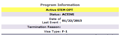 "Screenshot of Program Information section of the Student Information page with words ""Active STEM OPT"" highlighted in yellow to show that the student is in a period of Active OPT, in this case, STEM OPT."