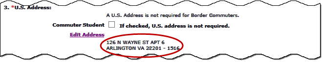 screen shot of an excerpt of the Student Information page showing how the address displays on the page