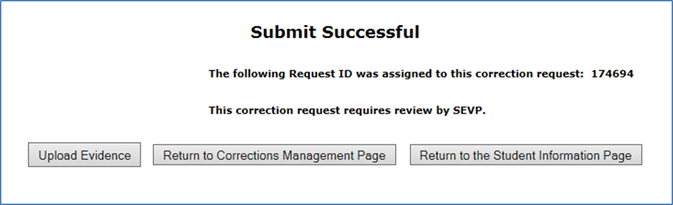 Screen shot of Submit Successful message.]