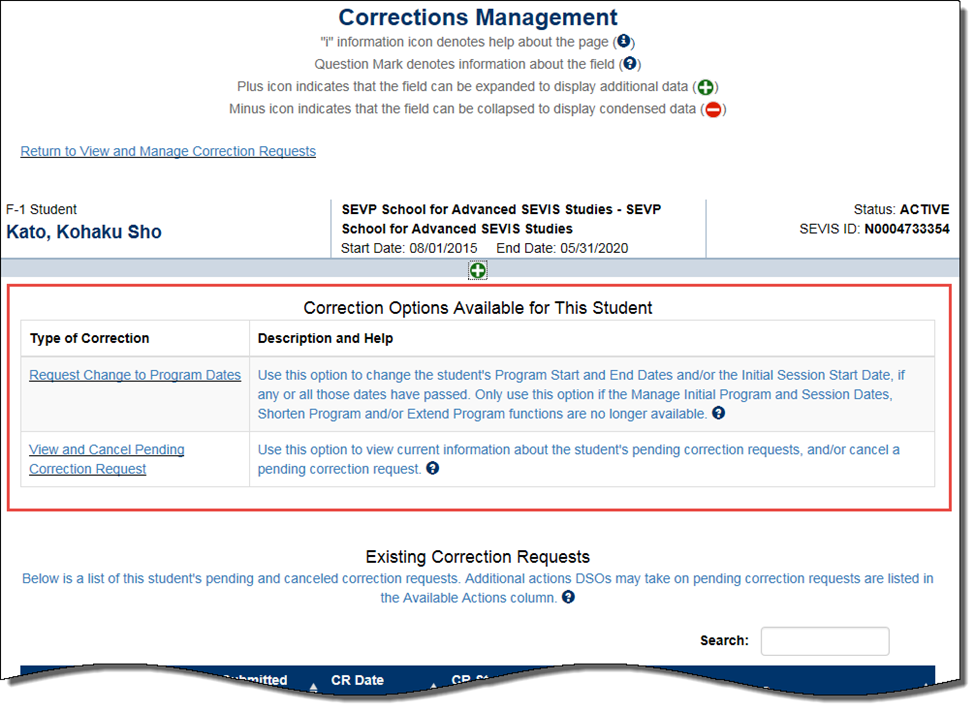 i 94 form correction  Correction Requests Overview | Study in the States