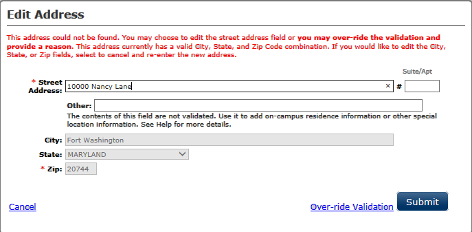 Screen shot of the Edit Address window with the error message for an address that could not be found