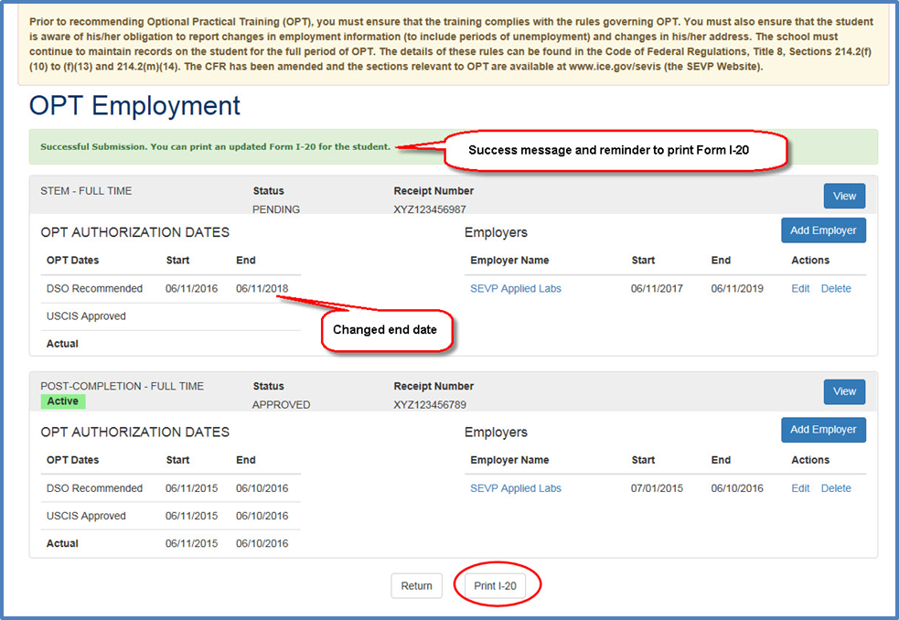 OPT Employment page after conversion of the STEM OPT request, which displays the Successful Submission message and the DSO Recommended End Date reflects the 24-month period for STEM