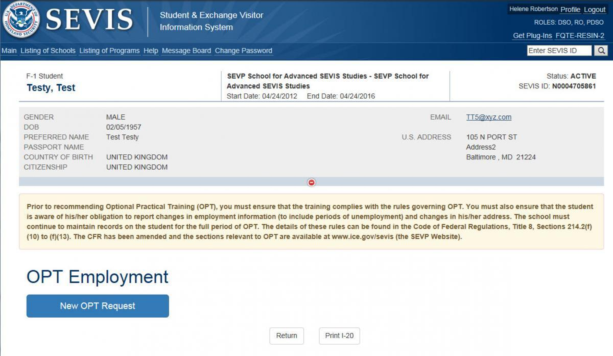 "Screenshot of OPT Employment page with arrow pointing to ""New OPT Employment"" link at the bottom left of the screen."