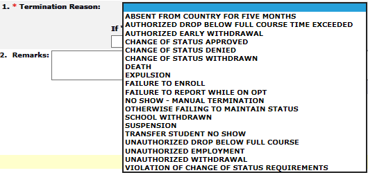 Terminate a Student/Dependent   Study in the States