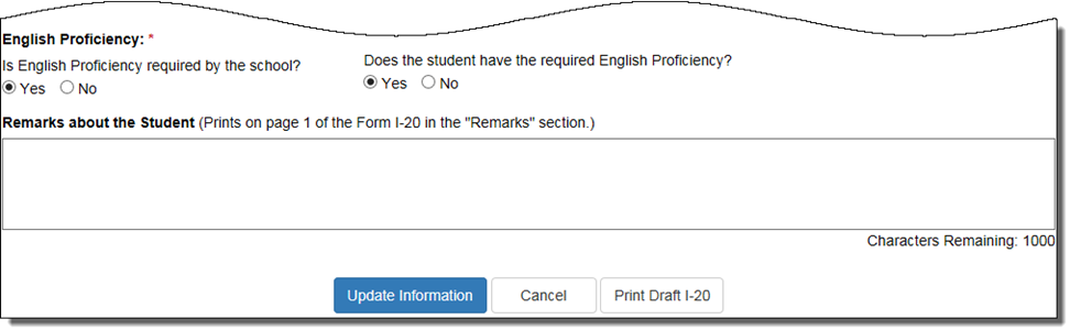 English Proficiency section on Update Program Information page indicating that student has required English Proficiency
