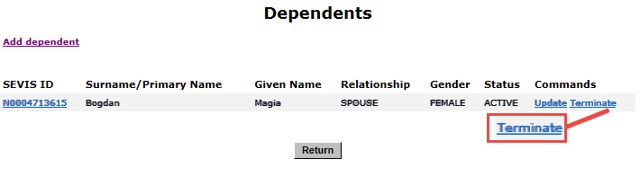 Dependents page