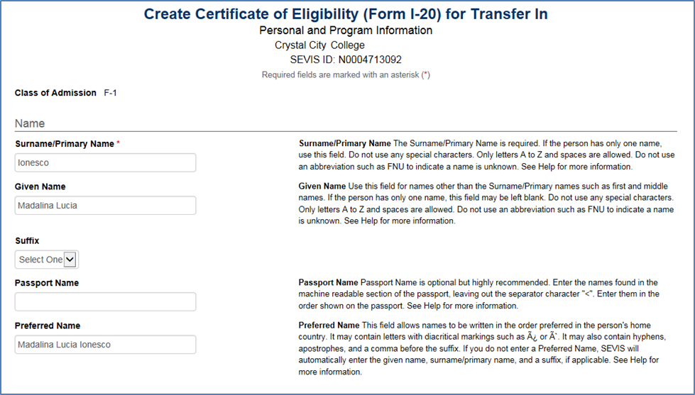 Create Certificate of Eligibility (Form I-20) for Transfer In screen.