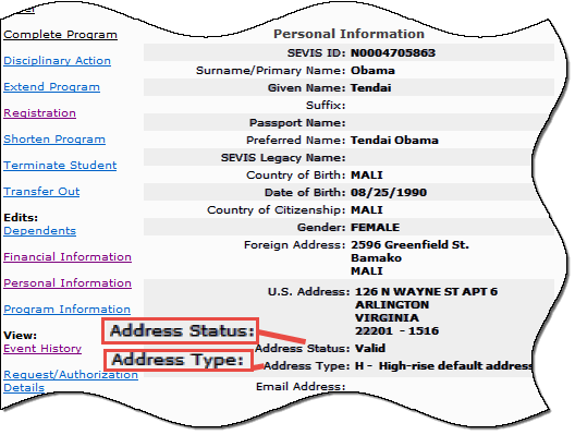 Screenshot of an excerpt of the Student Information page displaying Address Status and Address Type