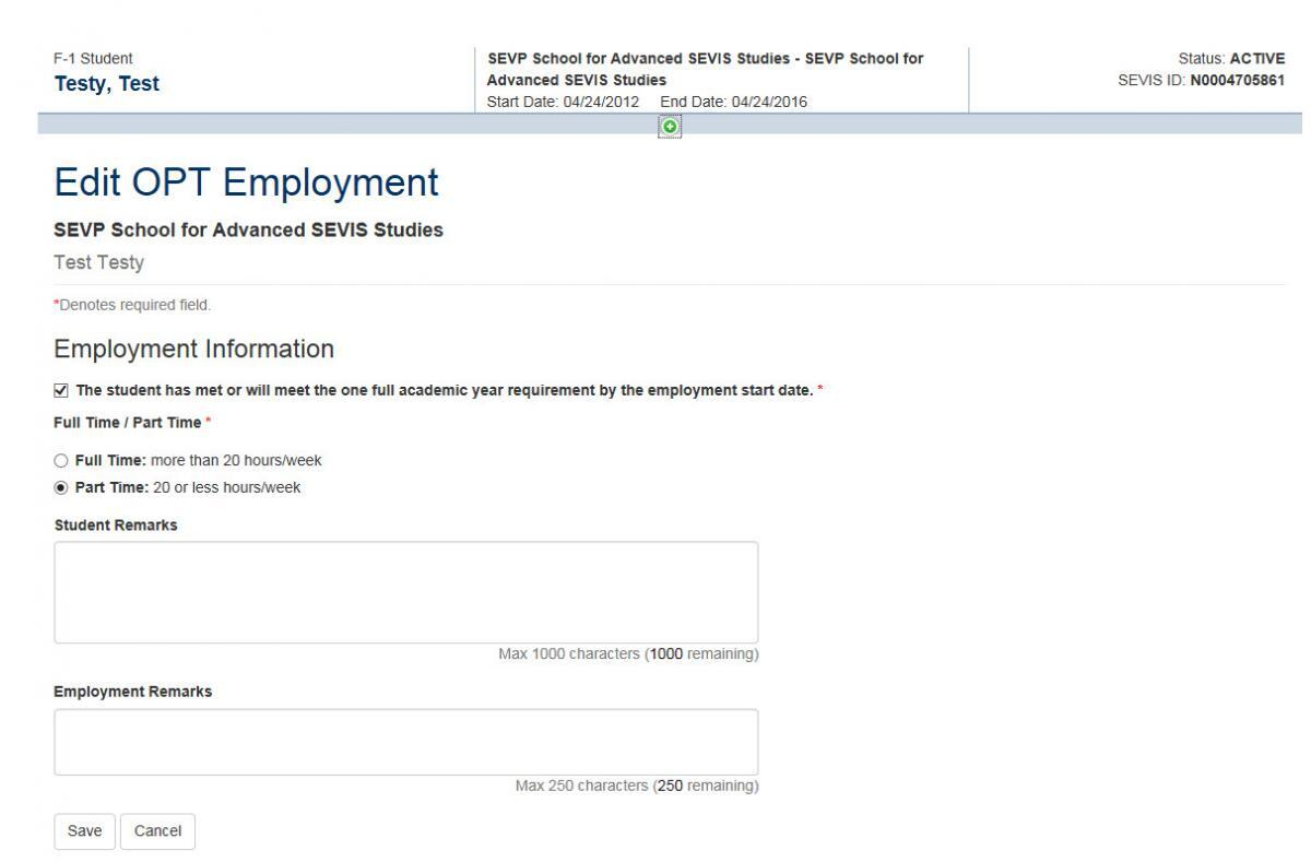 F 1 optional practical training opt study in the states screenshot of edit opt employment page falaconquin
