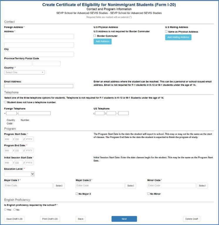 Create Certificate of Eligibility for Nonimmigrant Students (Form I-20) – Contact and Program Information Page