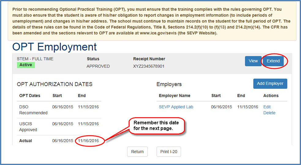 OPT Employment page indicating the button to extend STEM OPT. The OPT Actual End Date is called out to remember the date, as it will be needed on the next page