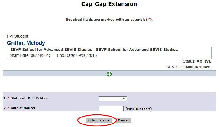 Cap Gap Extension Page