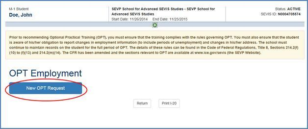 Screenshot of OPT Employment page.)