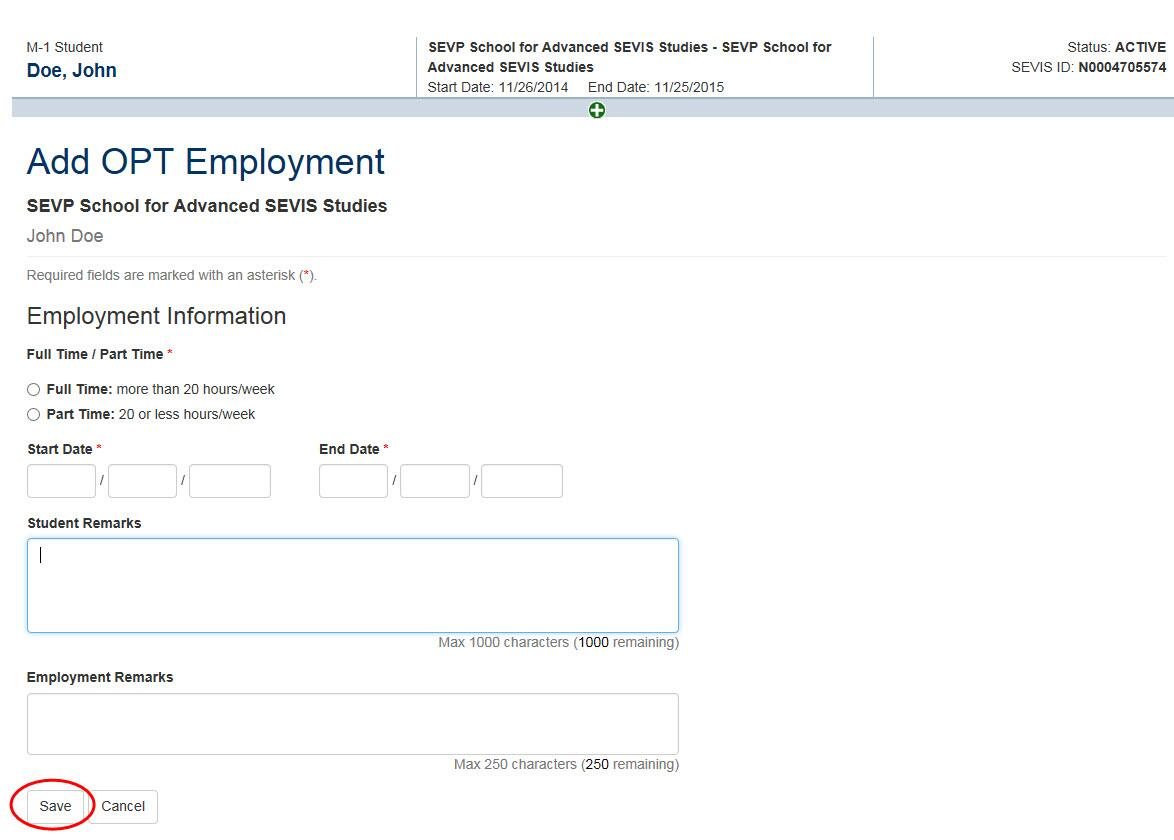 Screenshot of Add OPT Employment Page