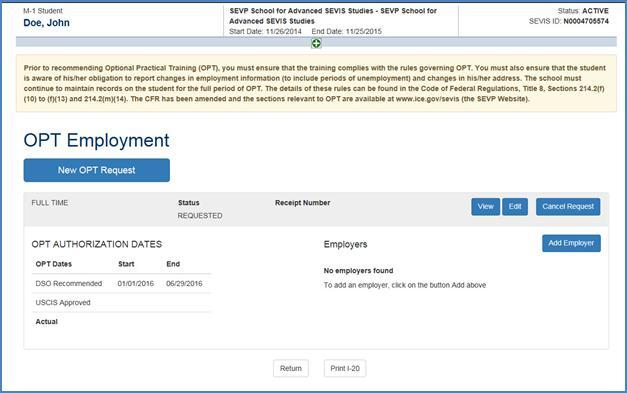 Screenshot of OPT Employment page with requested practical training employment added.