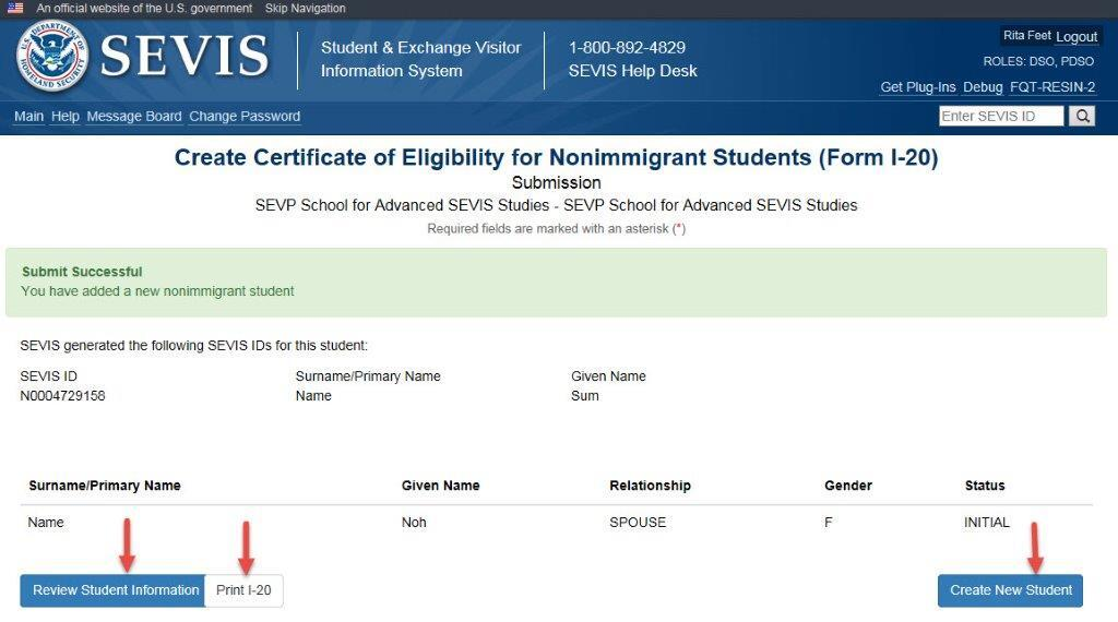 Create Certificate of Eligibility for Nonimmigrant Students (Form I-20) Submission Page