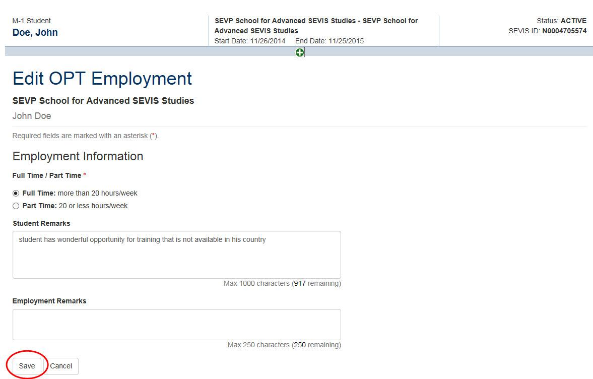 Screenshot of OPT Employment page