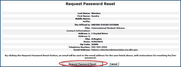 Request Password Reset