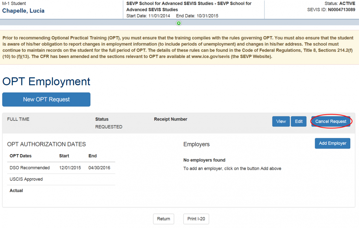 Screenshot of OPT Employment page with Cancel Request button circled