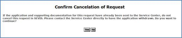 Screenshot of Confirm Cancelation of Request page
