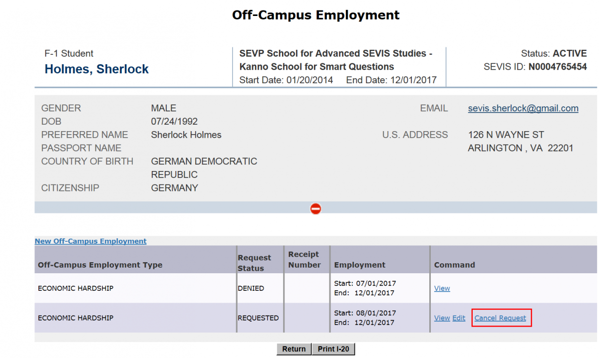 the Off-Campus Employment page